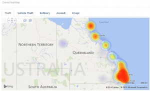 Crime Heatmap Theft 2015